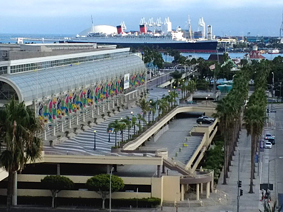 LB Convention Center (l) and Queen Mary
